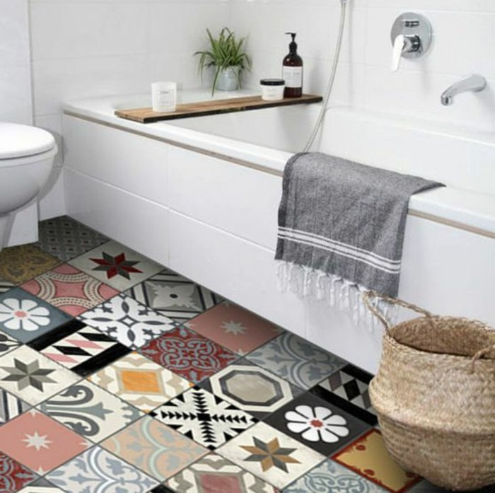 Comment adopter le carrelage patchwork son int rieur for Salle de bain avec carreaux de ciment