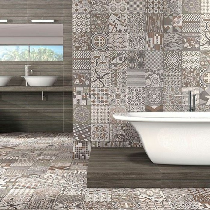 Comment adopter le carrelage patchwork son int rieur - Salle de bain contemporaine blanche ...