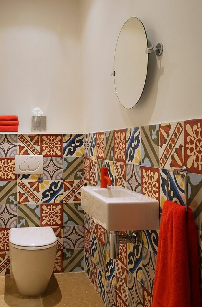 Comment adopter le carrelage patchwork son int rieur - Salle de bain carreaux de ciment ...