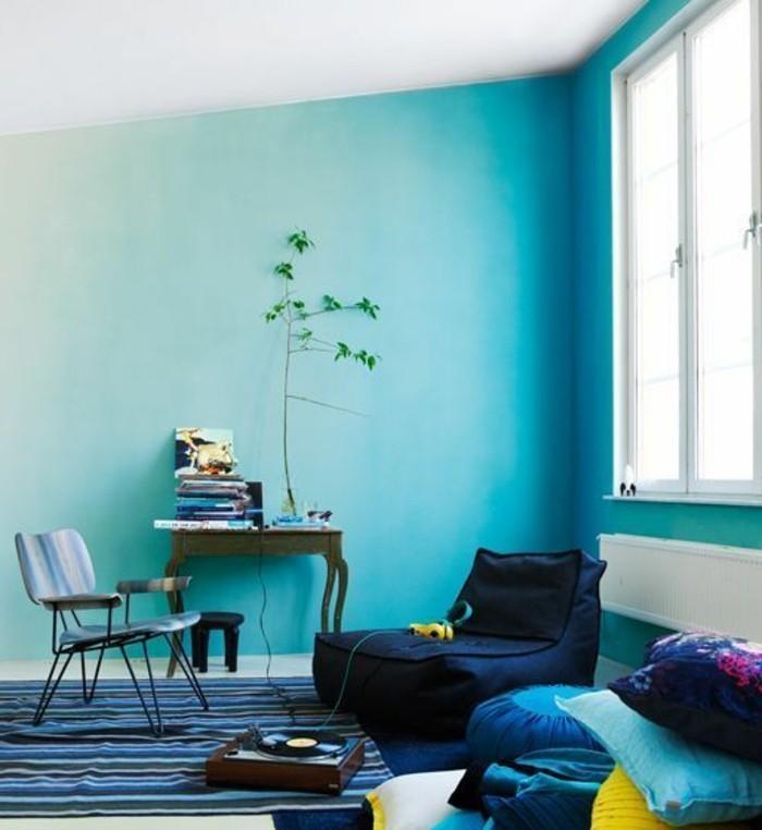 On met l 39 accent sur la couleur de peinture pour salon - Couleur peinture bleu ...