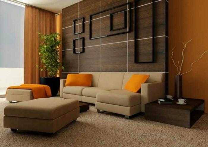 couleur-de-peinture-pour-salon-orange-fonce-canape-beige-tapisserie-moquette-beige-salon