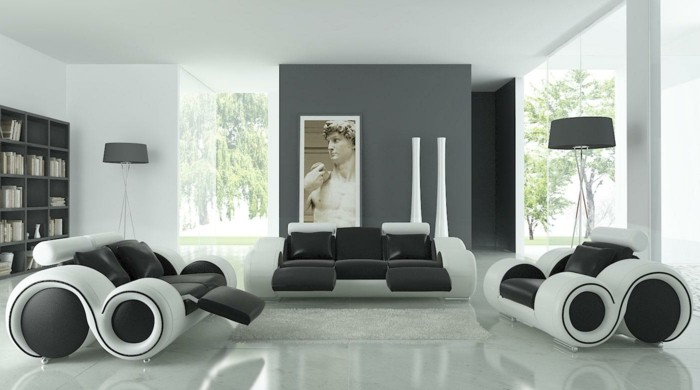 Un salon en gris et blanc c 39 est chic voil 82 photos qui for Peinture mur salon design