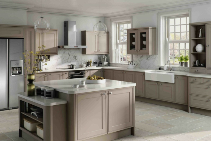 Cuisine taupe 51 suggestions charmantes et tres tendance for Kitchen colors with white cabinets with papier peint décoration murale