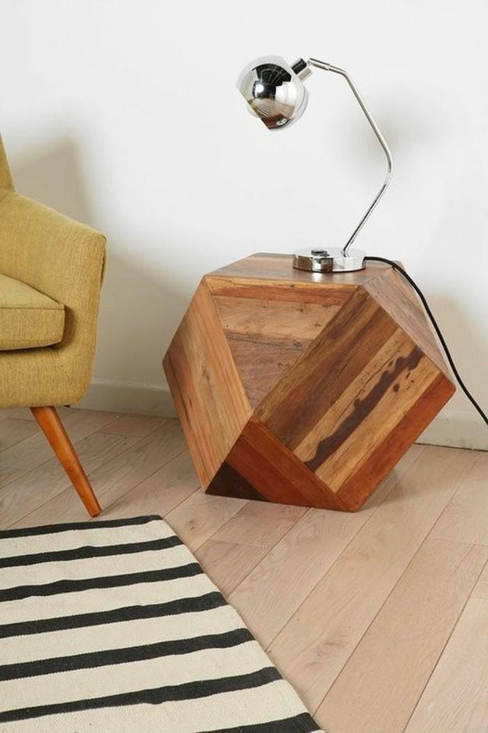 creation-en-bois-flotte-lampe-tabouret-table-tapis-blanc-noir