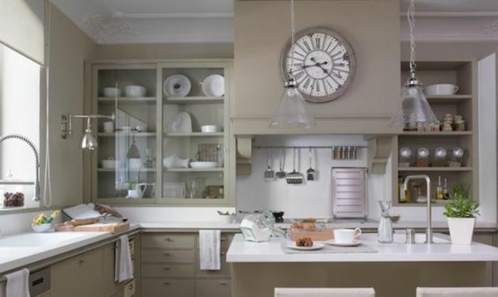 cuisine-blanche-et-grise-couleur-taupe-predominant-deco-cuisine-tres-esthetique-ambiance-vintage