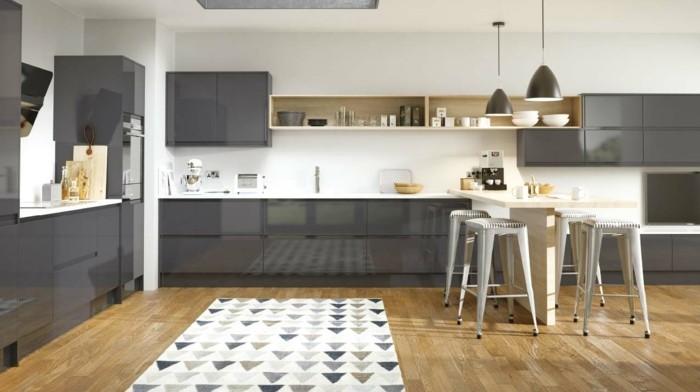 cuisine-blanche-et-grise-meuble-cuisine-couleur-anthracite-couleur-peinture-mur-blanc-sol-stratifie-joli-tapis-a-triangles