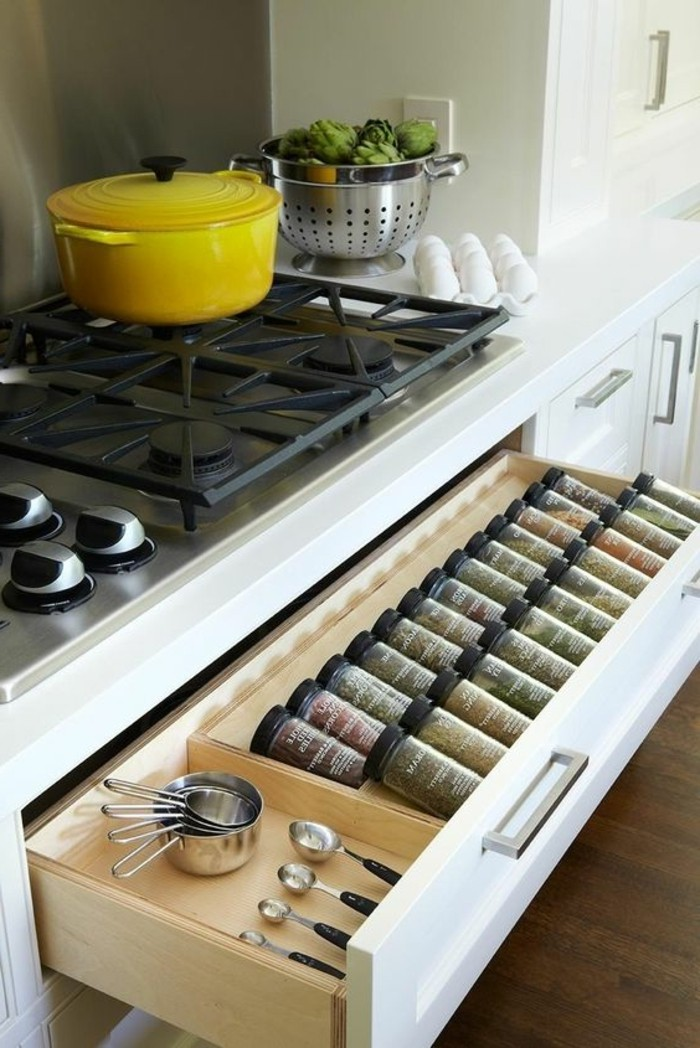 cuisine-equipee-buffet-outillage-jaune-utile-moderne