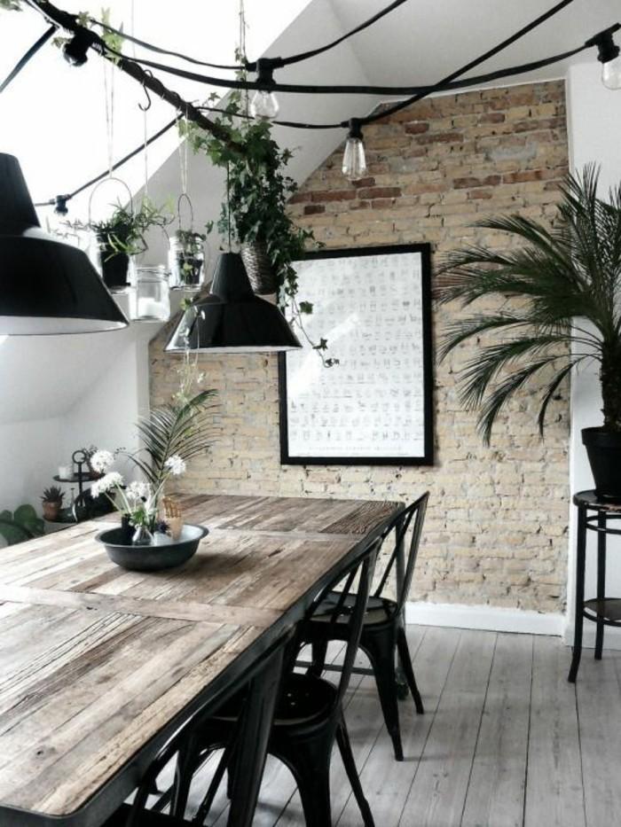 cuisine-equipee-table-en-bois-vert-chaise