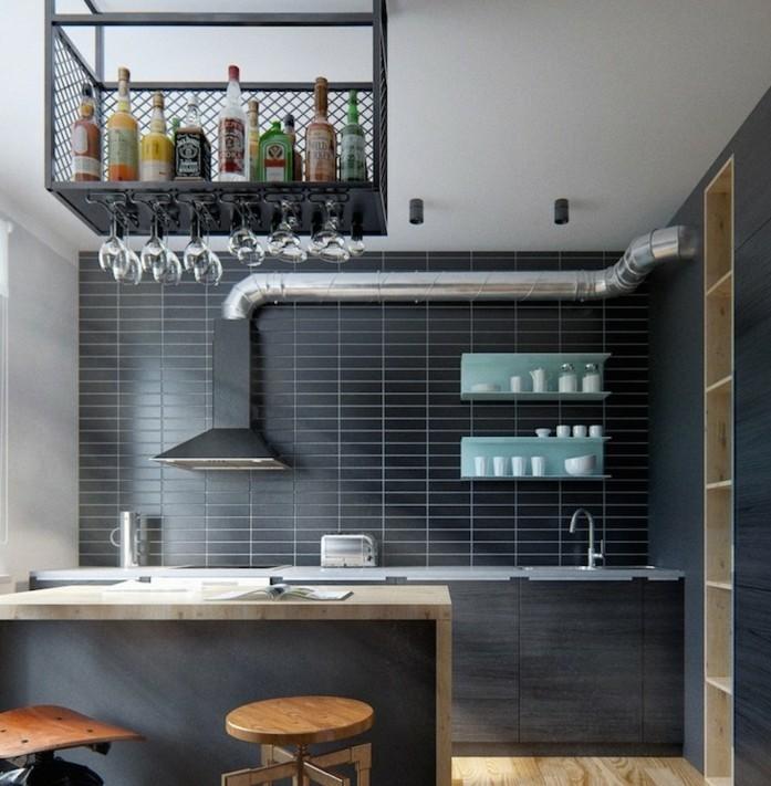 cuisine-gris-anthracite-avec-deco-industrielle-tabourets-industriels-et-aspirateur-industriel-deco-sobre-et-esthetique