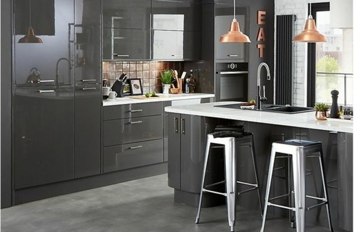 Cuisine gris anthracite 56 id es pour une cuisine chic for Kitchen tiles ideas b q