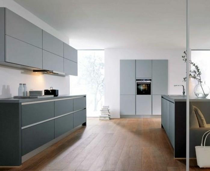 Cuisine gris anthracite 56 id es pour une cuisine chic et moderne - Cuisine blanche parquet ...