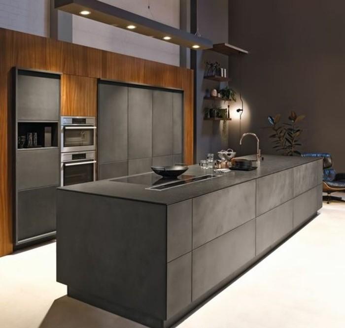 Agréable Cuisine Bleue Et Blanche #6: Cuisine-grise-meuble-cuisine-gris-anthracite-combiné-avec-du-bois-mur-couleur-grise-cuisine-ultra-moderne-e1477297342395.jpg