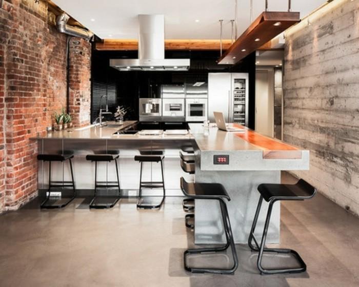 Cuisine industrielle l 39 l gance brute en 82 photos for Modele cuisine noir et blanc