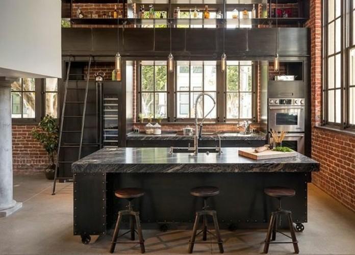 cuisine-industrielle-modele-magnifique-mur-en-briques-et-meubles-cuisine-couleur-anthracite-elegance-brute