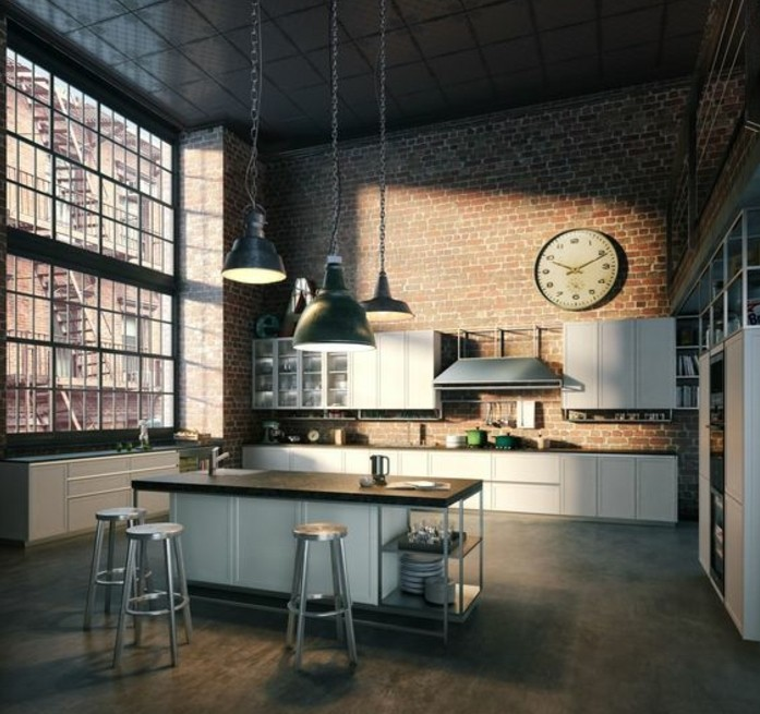 Cuisine industrielle l 39 l gance brute en 82 photos for Deco cuisine loft