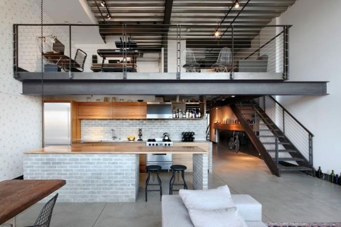 Idee Chambre Bebe Hibou :  industrielle avec de faux briques Carrelage gris, imitation béton
