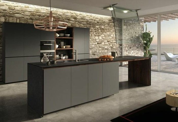 decor-cuisine-tres-interessant-meuble-et-ilot-de-cuisine-gris-anthracite-mur-en-pierre-spectaculaire-sol-gris-cuisine-contemporaine-tres-chic