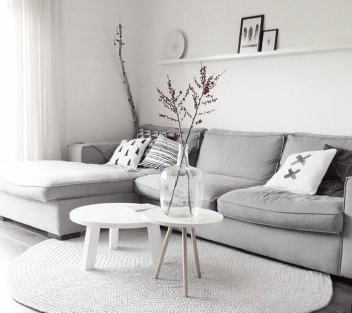 un salon en gris et blanc c 39 est chic voil 82 photos qui en t moignent. Black Bedroom Furniture Sets. Home Design Ideas