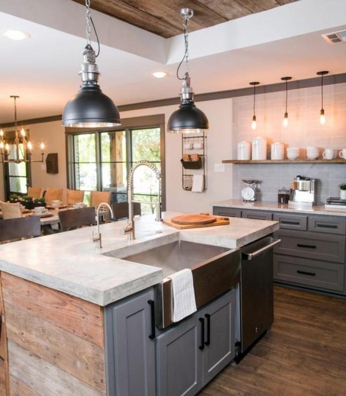 deco-industrielle-elements-deco-en-bois-suspensions-industrielles-meubles-cuisine-couleur-grise-cuisine-stylee