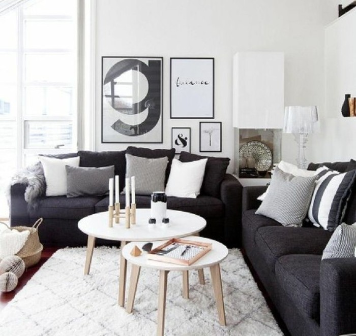 Un salon en gris et blanc c 39 est chic voil 82 photos qui for Salon scandinave gris