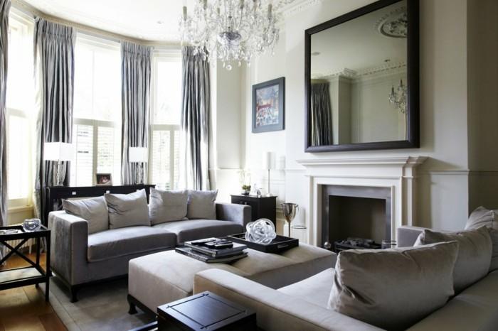 deco-salon-blanc-avec-des-elements-deco-gris-rideaux-gris-lustre-elegant-salon-de-luxe