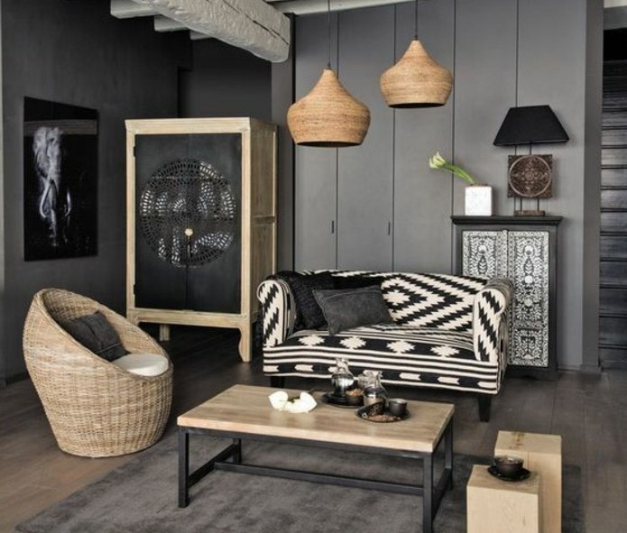 deco salon blanc et osier avec des id es. Black Bedroom Furniture Sets. Home Design Ideas