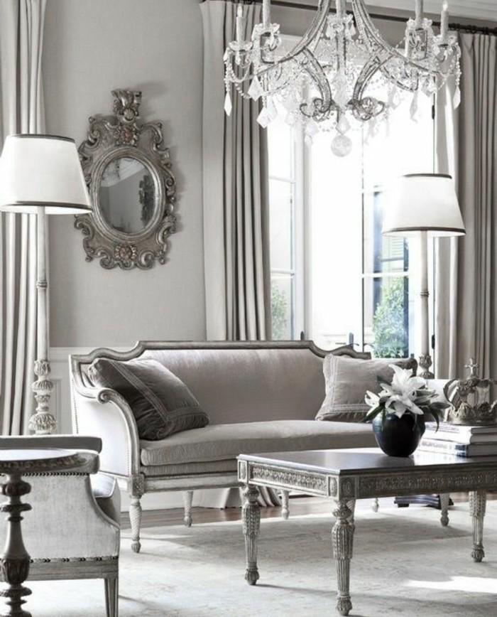 deco-salon-gris-somptueuse-mobilier-vintage-tres-elegant-raffinement-et-exuberence-des-details