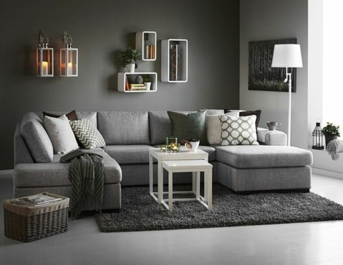 D co salon gris 88 super id es pleines de charme for Idee deco grand mur salon
