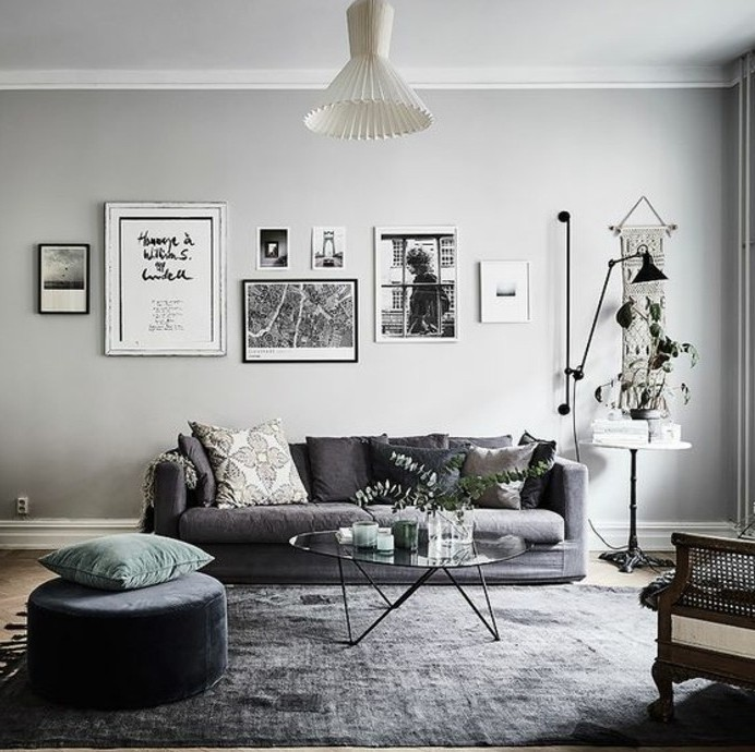 Deco Scandinave Salon Gris Et Jaune Boutique Gain De Place Fr
