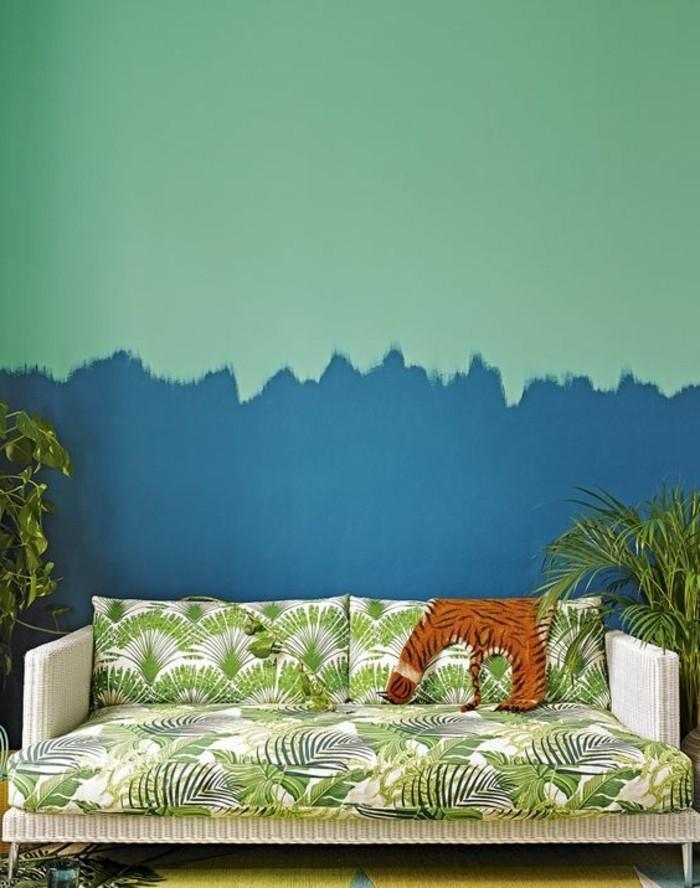 On met l 39 accent sur la couleur de peinture pour salon for Couleur bleu vert