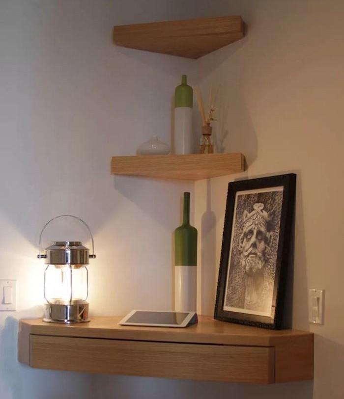 etagere-d-angle-murale-bureau-tiroir-bois
