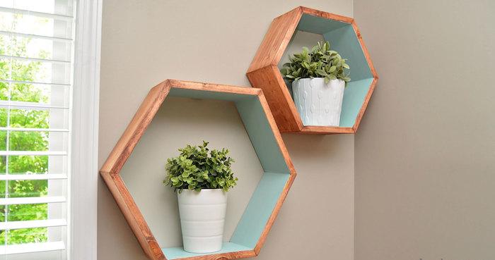 etagere-murale-cube-bois-design-hexagone-hexagonale-turquoise