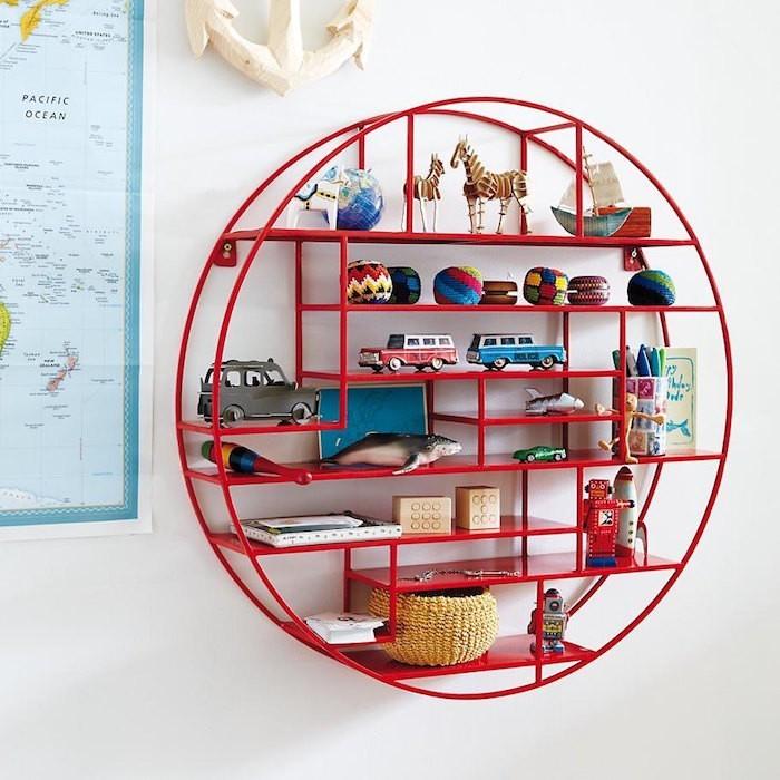 etagere enfant pour chambre murela circulaire ronde rouge