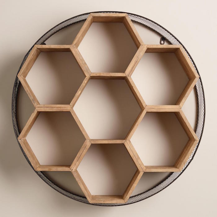etagere-mural-original-moderne-contemporaine-en-bois-hexagonale-et-circulaire
