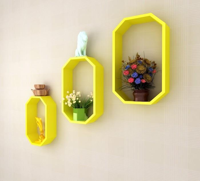etagere-octogonale-murale-jaune-deisng-moderne-idee-deco-couleurs-salon