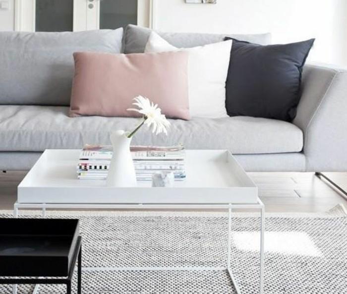 Wonderful Idee Deco Peinture Salon Moderne #3: Excellente-idée-déco-salon-gris-et-blanc-avec-une-petite-touche-de-rose-tapis-et-canapé-gris-perle-table-à-café-blanche.jpg