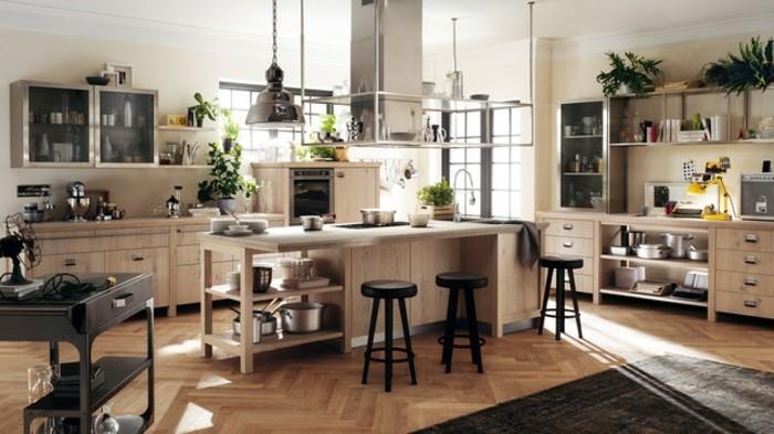 excellente-idee-deco-industrielle-en-metal-et-bois-meuble-cuisine-en-bois-ilot-cuisine-en-bois-vegetation-parquet-en-bois-cuisine-rustique-industrielle-trop-chic