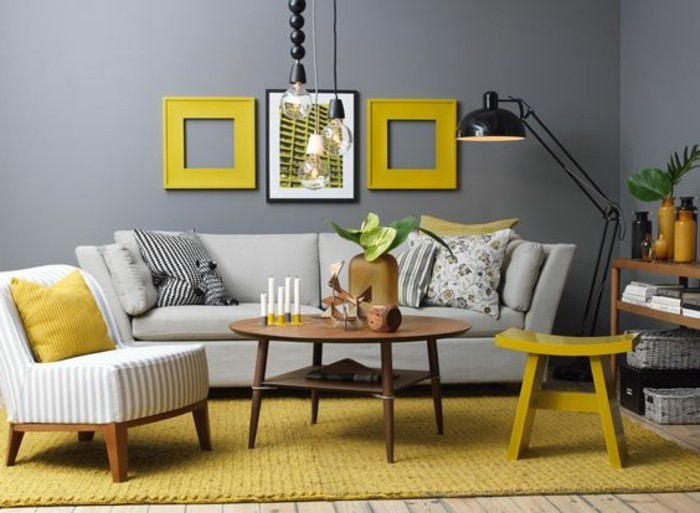 Idee deco salon gris et jaune for Salon gris deco