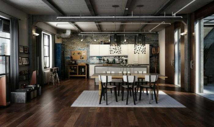 facade-cuisine-couleur-creme-mur-en-briques-look-use-luminaires-industriels-design-extraordinaire-elements-decoratifs-en-gris-anthracite