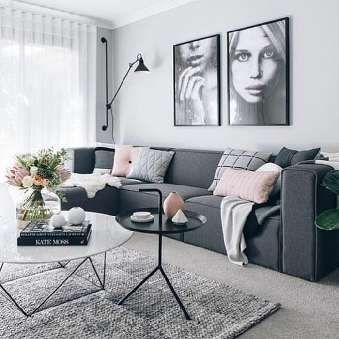 Deco Salon Gris Et Rose