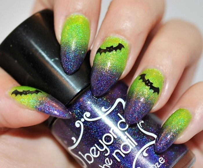 formidable-idee-deco-vert-et-violet-formidable-dessin-halloween-facile-model-ongle-gel