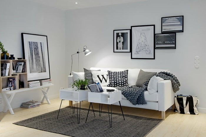 Un salon en gris et blanc c 39 est chic voil 82 photos qui for Tableau salon scandinave