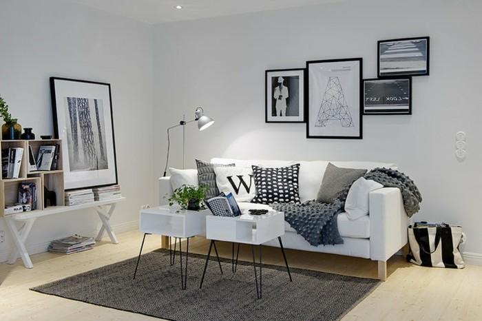 formidable-idee-deco-salon-couelur-peinture-salon-blanc-canape-blanc-tapis-et-coussins-gris-tables-blanches-mignonnes-deco-style-scandinave
