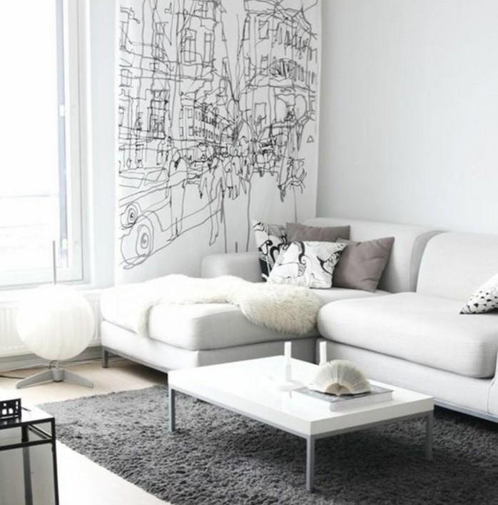 formidable-salon-gris-et-blanc-couleur-peinture-salon-blanc-canape-blanc-tapis-gris-mur-a-lignes-graphiques