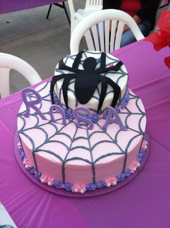 gateau-spiderman-anniversaire-fille-gateau-rose