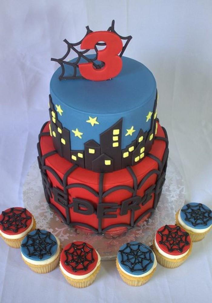 gateau-spiderman-et-mini-cakes-au-theme-de-spiderman