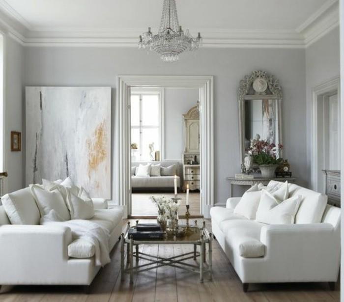 idee-deco-salon-gris-et-blanc-couleur-mur-gris-clair-canapes-blancs-parquet-de-bois-ambiance-somptueuse
