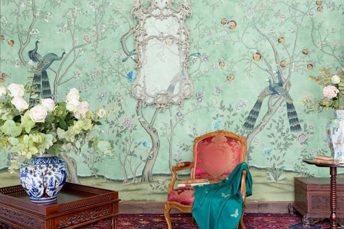 idee-papier-peint-trop-tendance-chinoiserie-murale-a-motifs-floraux-elegants