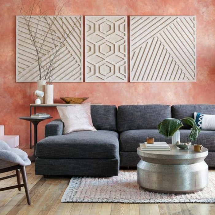 idee-peinture-salon-en-rose-canape-gris-tapis-colore-sol-en-parquet-table-ronde