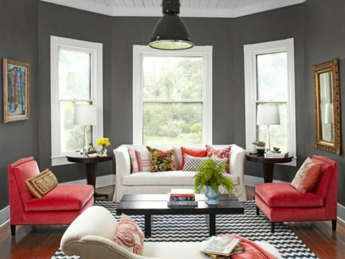 On met l 39 accent sur la couleur de peinture pour salon - Living room ideas black white and red ...